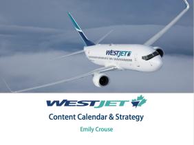 WestJet Content Calendar cover page